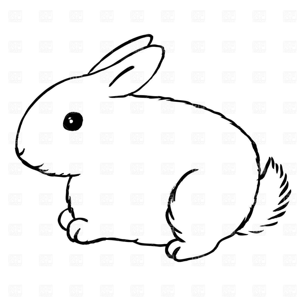 Fresh black and white. 5 clipart bunny