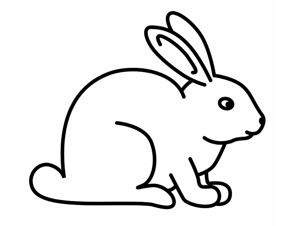 Bunny clipart colored. Easter line drawing at