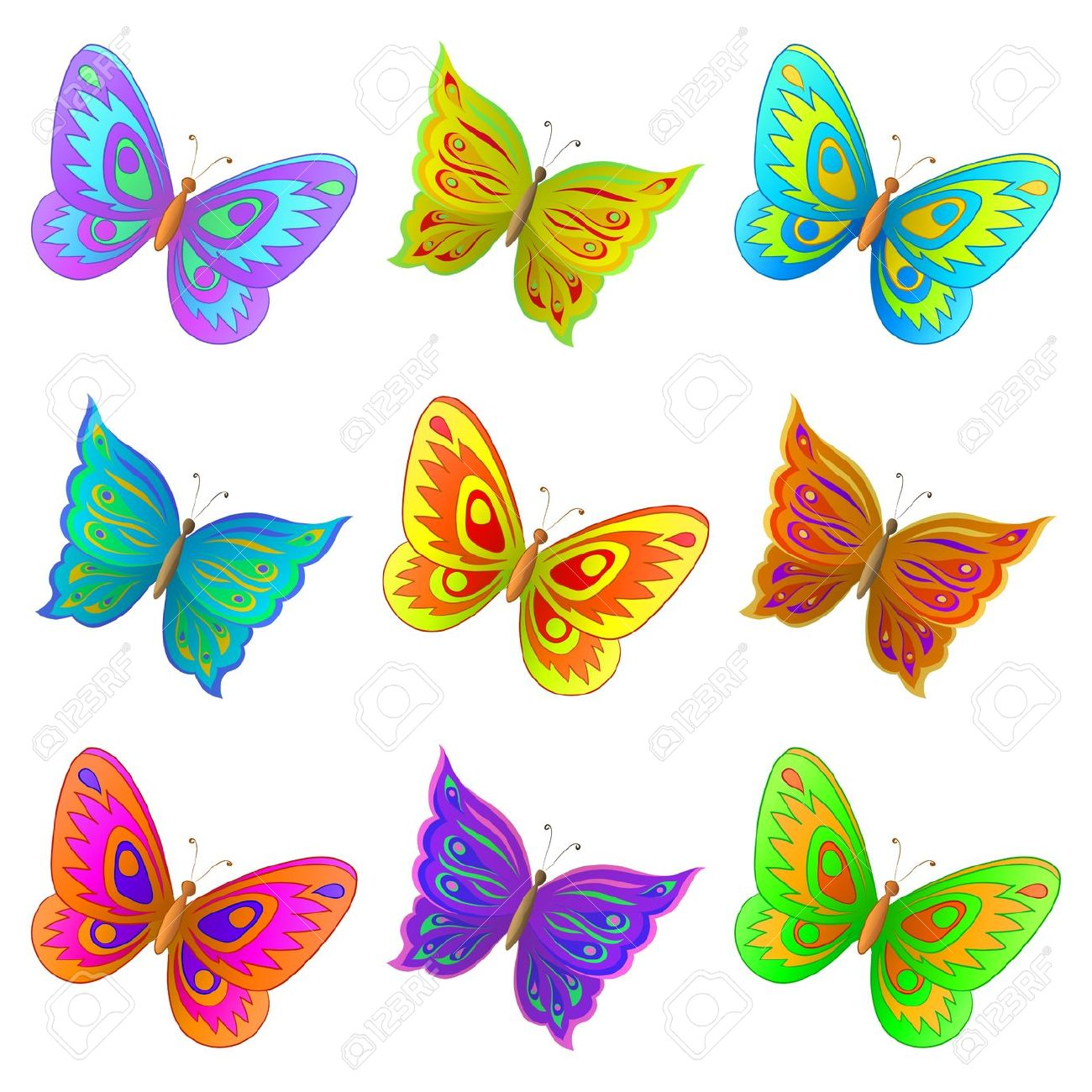 Colorful station . 5 clipart butterfly