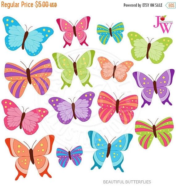 5 clipart butterfly. Beautiful butterflies cute digital