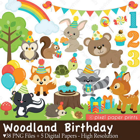 Woodland birthday forest and. 5 clipart clip art