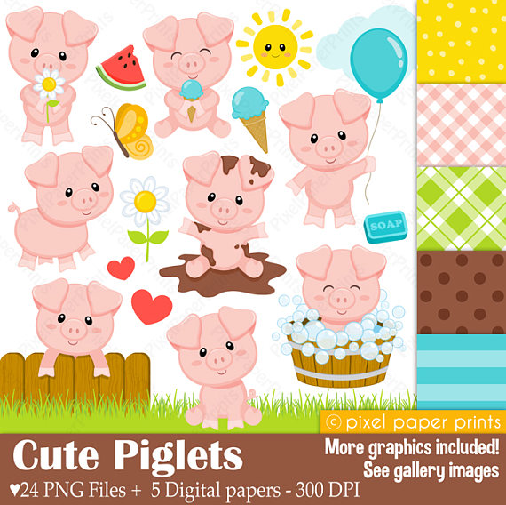 5 clipart clip art. Cute piglets pig and