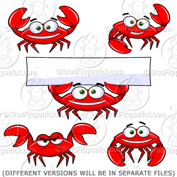 5 clipart crab. Cartoon character royalty free