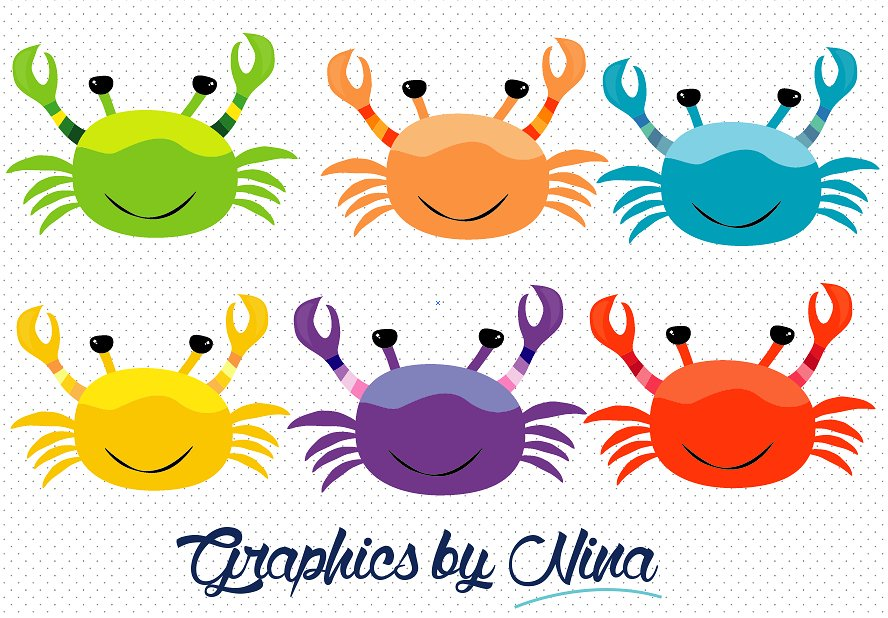 Colorful crabs illustrations creative. 5 clipart crab