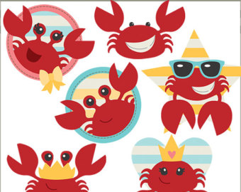 5 clipart crab. Beach set sandcastle summer