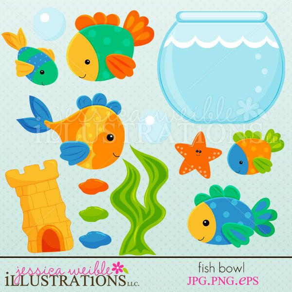 5 clipart cute. Fish bowl set comes