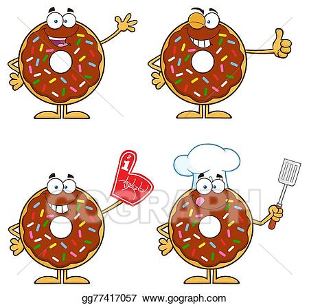 Vector art four donuts. 5 clipart cute