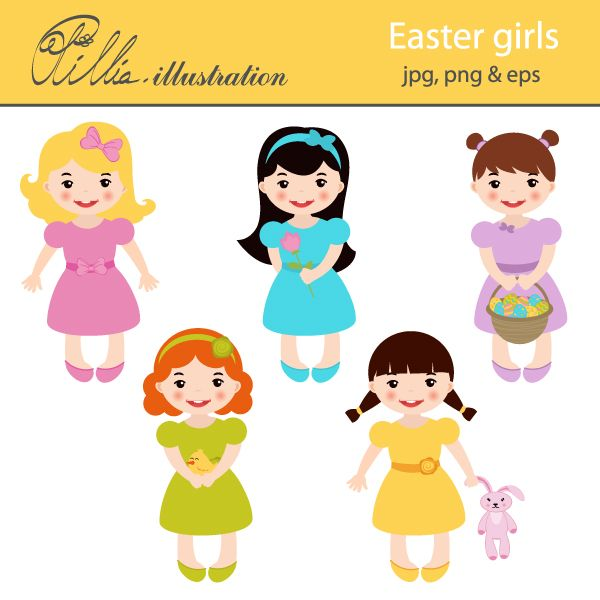 5 clipart cute. This easter girls set