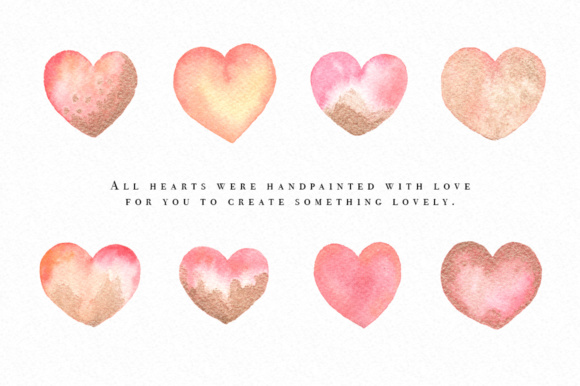 5 clipart gold. Watercolor hearts graphics including