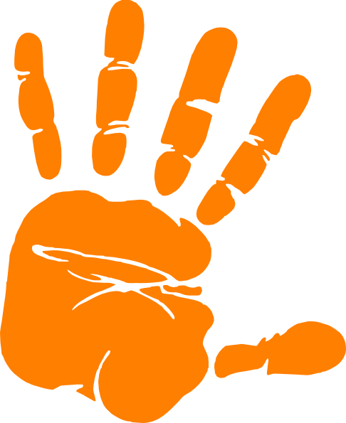 Kid hand station . Handprint clipart orange