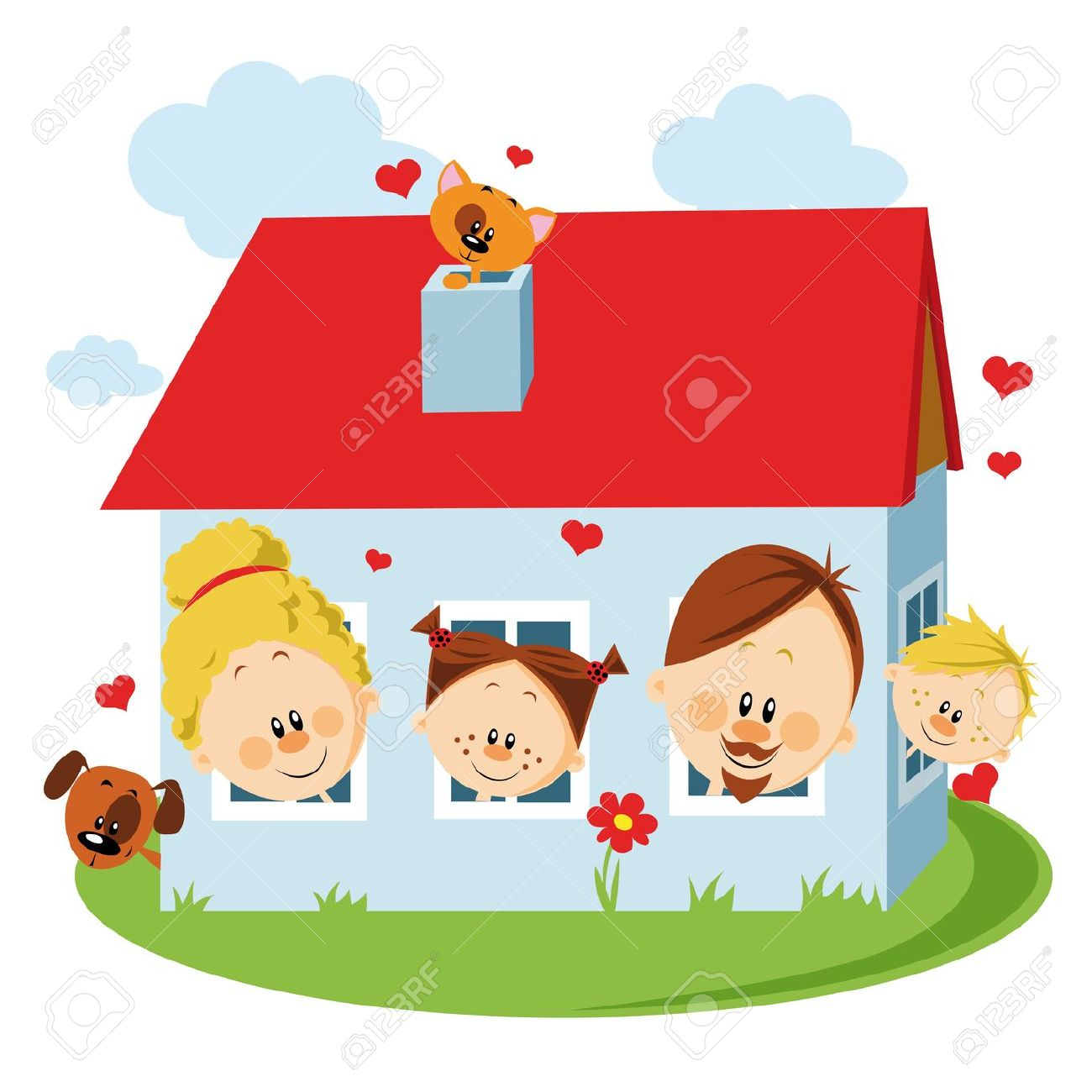 Happy family at station. 5 clipart home