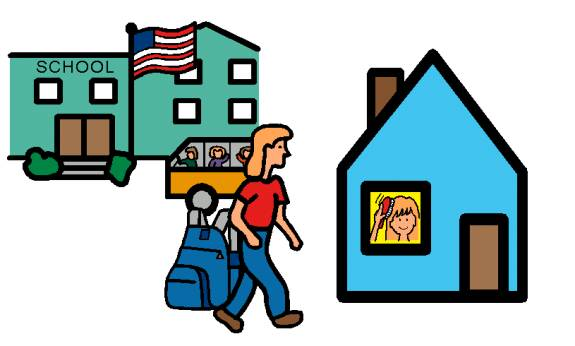 Go from school station. 5 clipart home