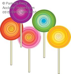 Clip art illustration of. Lollipop clipart five