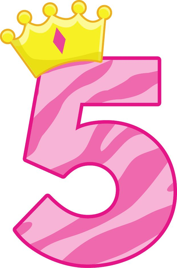collection of number. 5 clipart pink