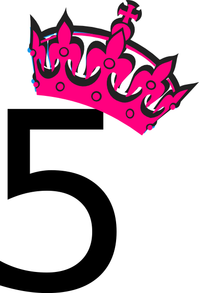 Tilted tiara and number. 5 clipart pink