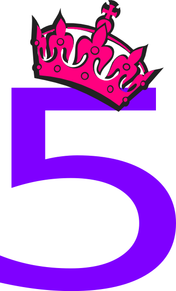 5 clipart pink. Tilted tiara and number