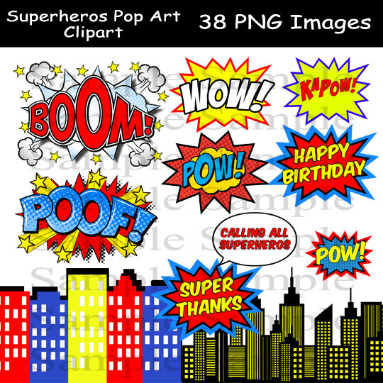 5 clipart printable. Superhero photo booth party