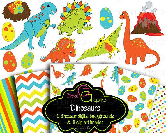5 clipart printable. Dinosaur clip art paper