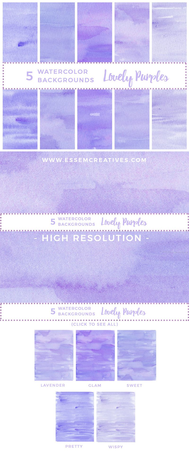 Abstract watercolor watercolour background. 5 clipart purple
