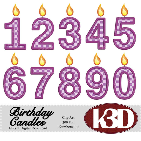 Happy birthday purple number. Candle clipart 3 candle