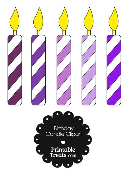 5 clipart purple. Birthday candles