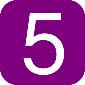 Rounded square with number. 5 clipart purple