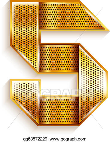 Vector art number metal. 5 clipart ribbon