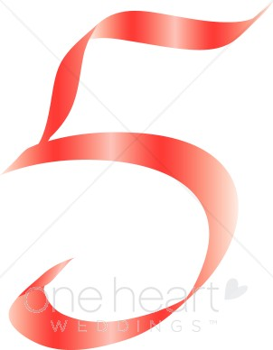 Number five pink alphabet. 5 clipart ribbon