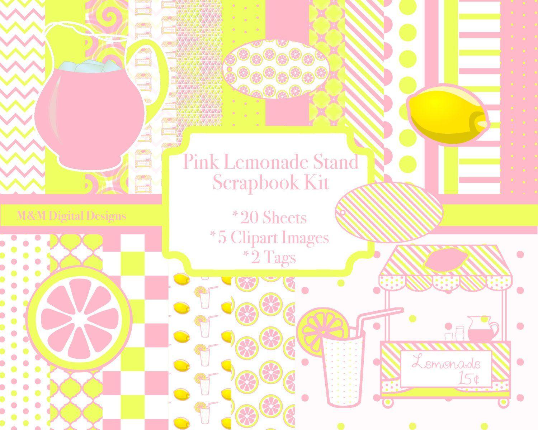 Pink lemonade digital kit. 5 clipart scrapbook