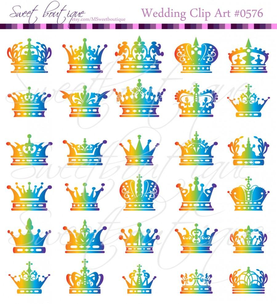 5 clipart scrapbook. Rainbow silhouette crowns digital
