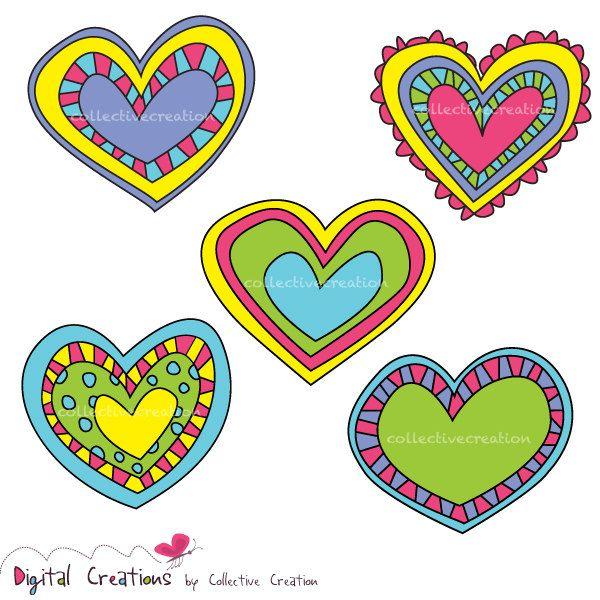 5 clipart scrapbook. Bright doodle hearts digital