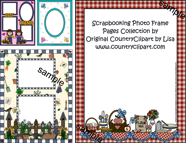 Photo frame pages collection. 5 clipart scrapbook