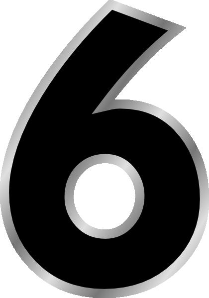 5 clipart six. Number black clip art