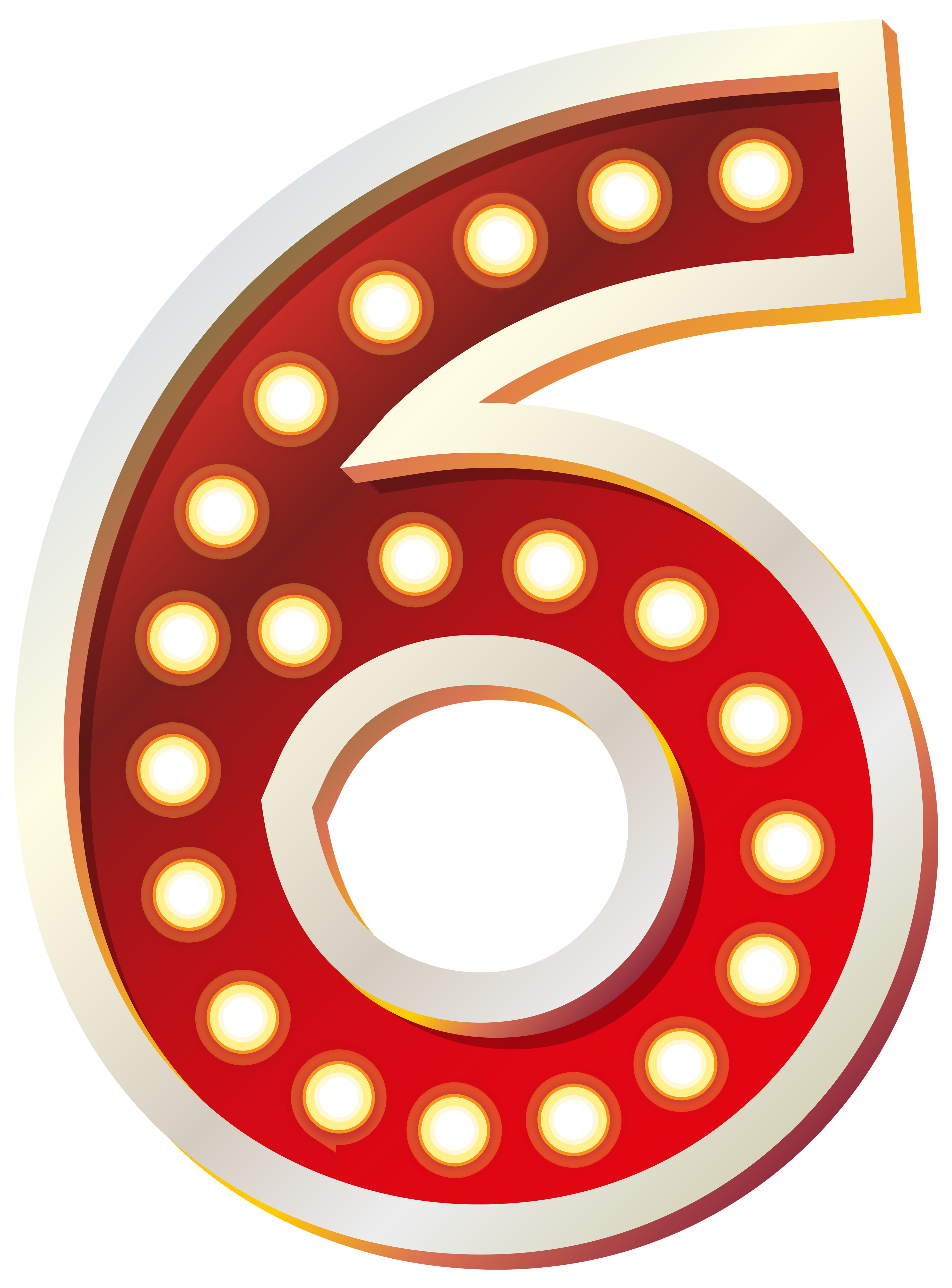 Red number with lights. 5 clipart six