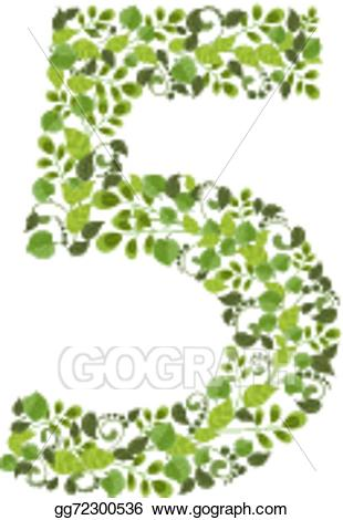 Vector stock green leaves. 5 clipart spring