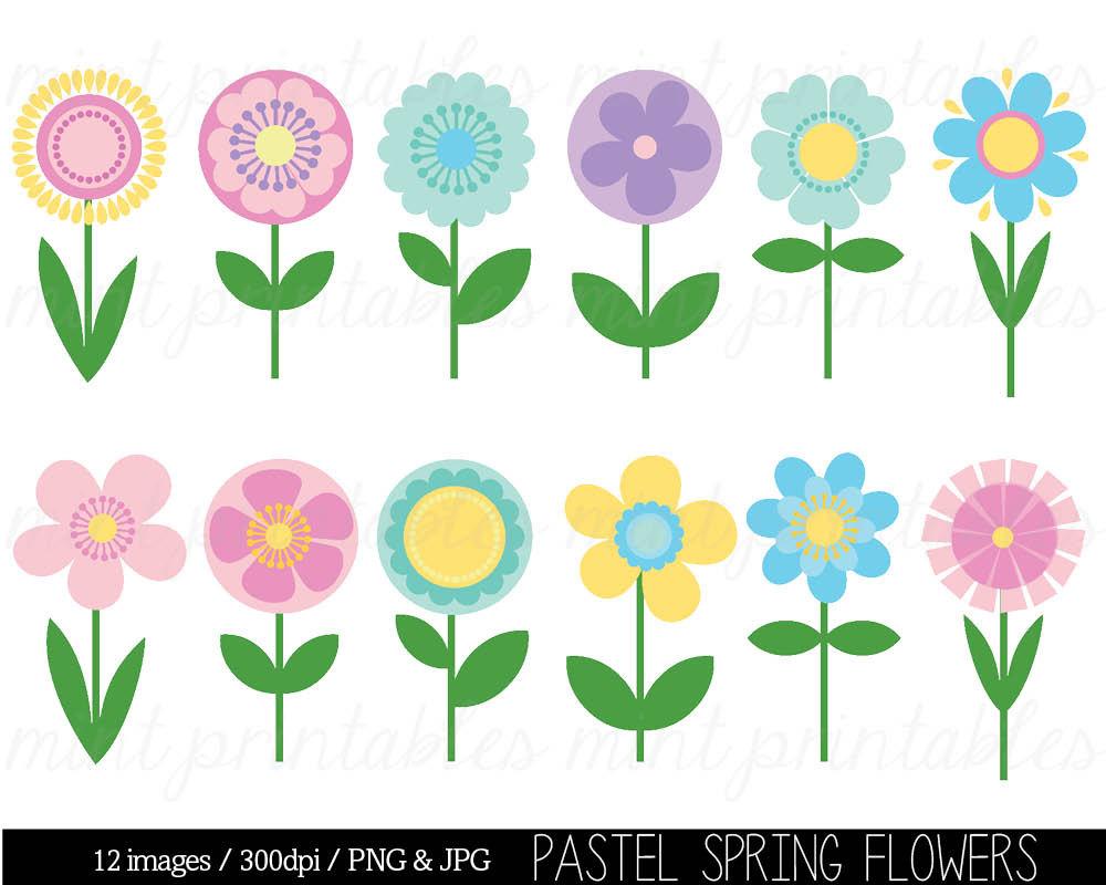 5 clipart spring. Flower clip art
