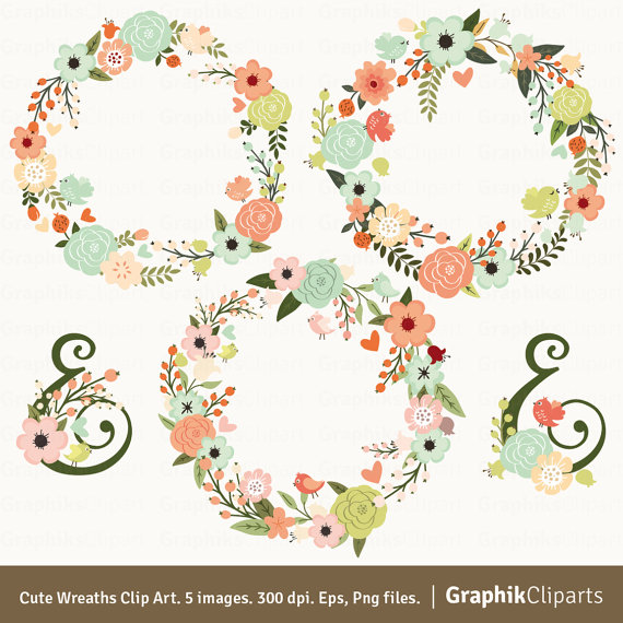 Cute wreaths vector flowers. 5 clipart spring
