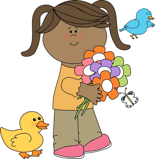 Girl with flowers and. 5 clipart spring