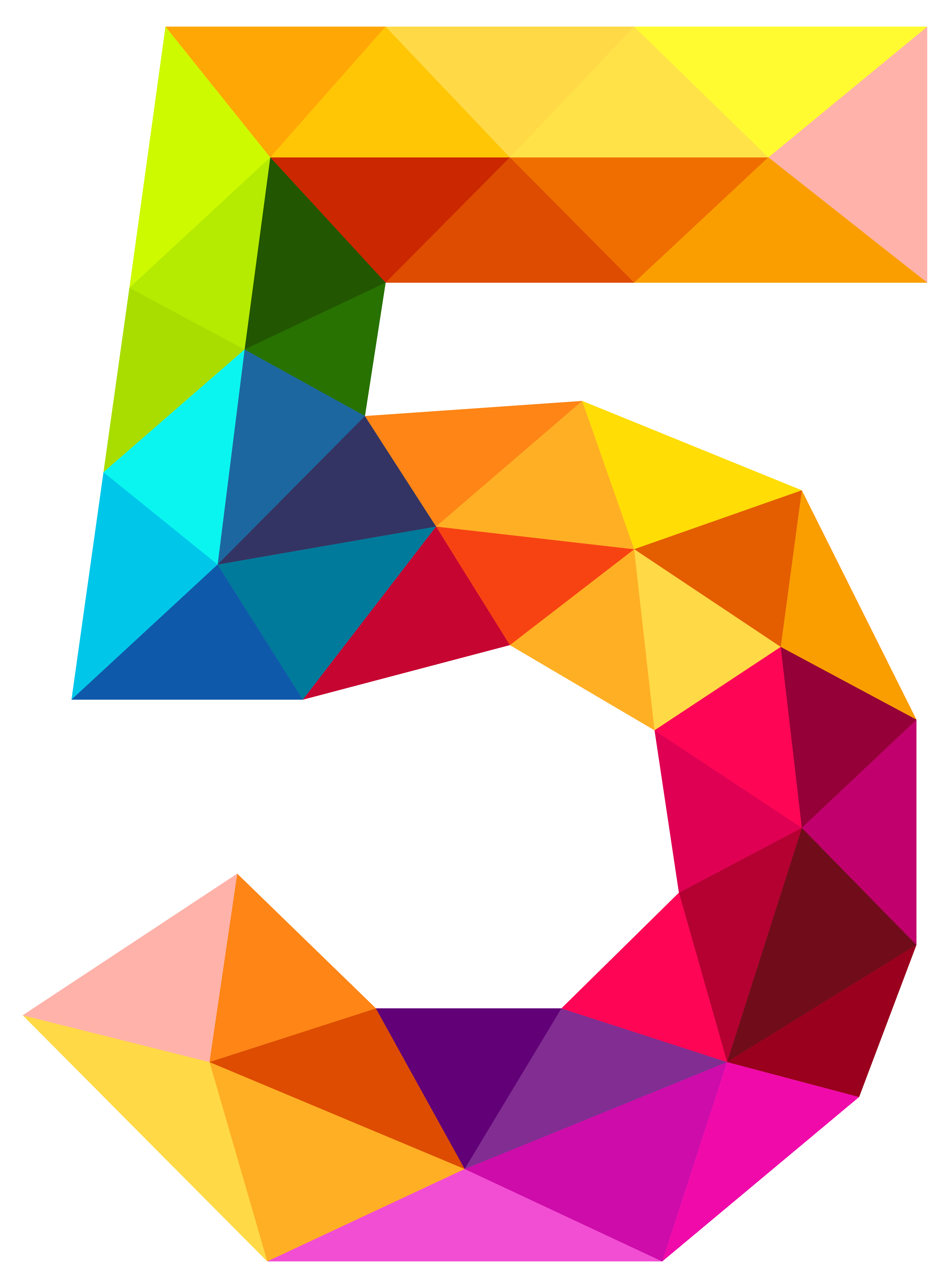 5 clipart transparent. Colourful triangles number five