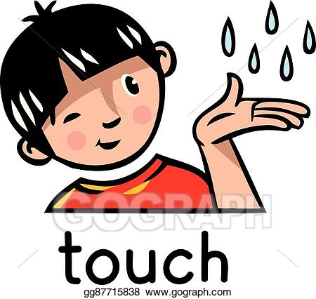 5 senses clipart animated. Eps vector touch sense