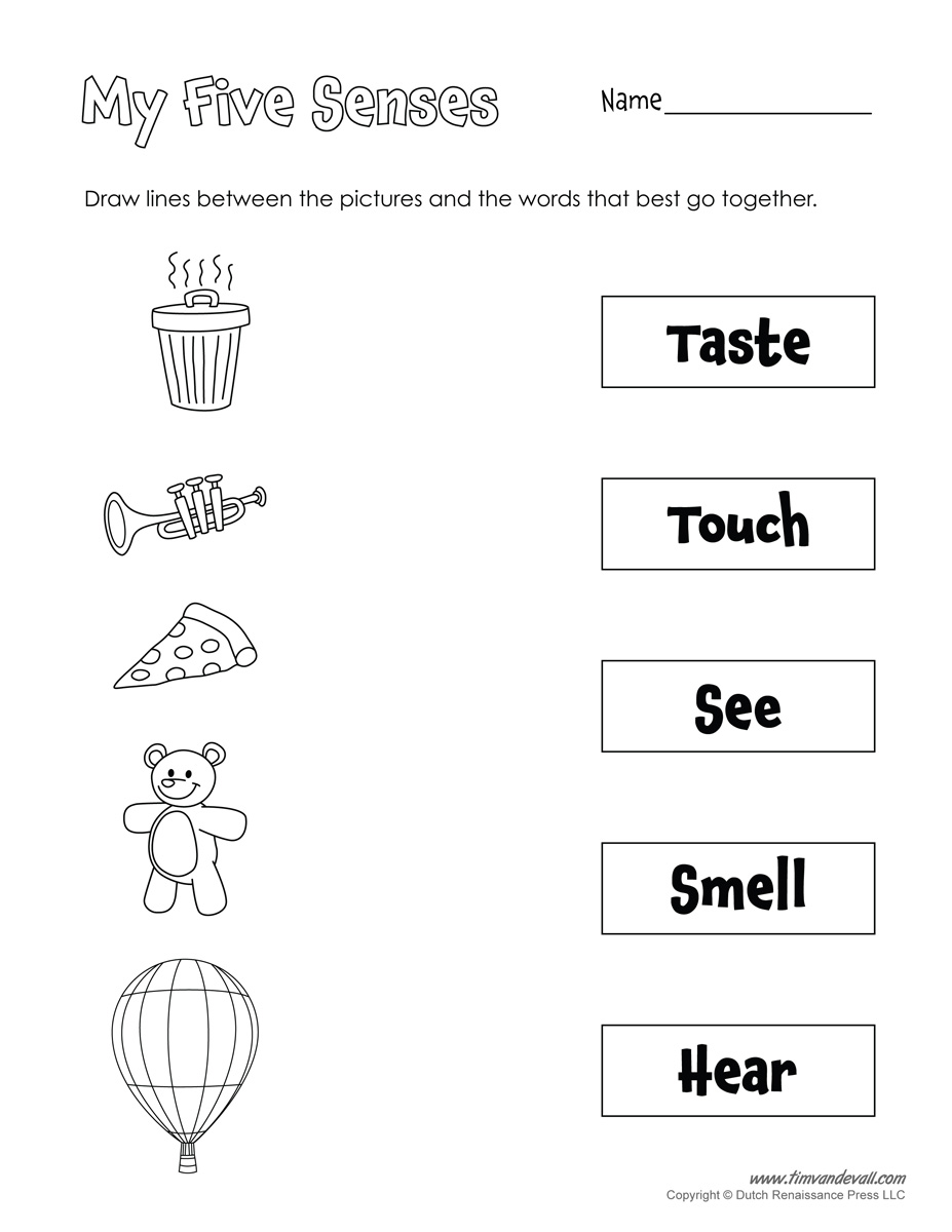 Free five worksheets for. 5 senses clipart black and white