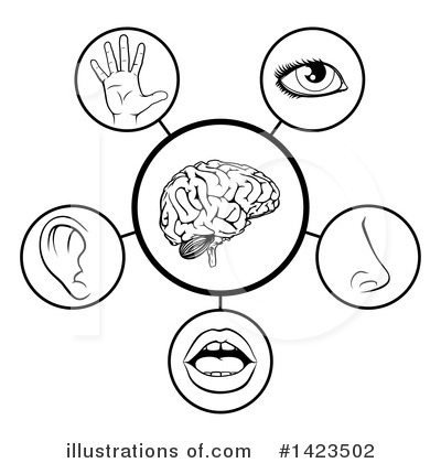 Illustration by atstockillustration royaltyfree. 5 senses clipart black and white