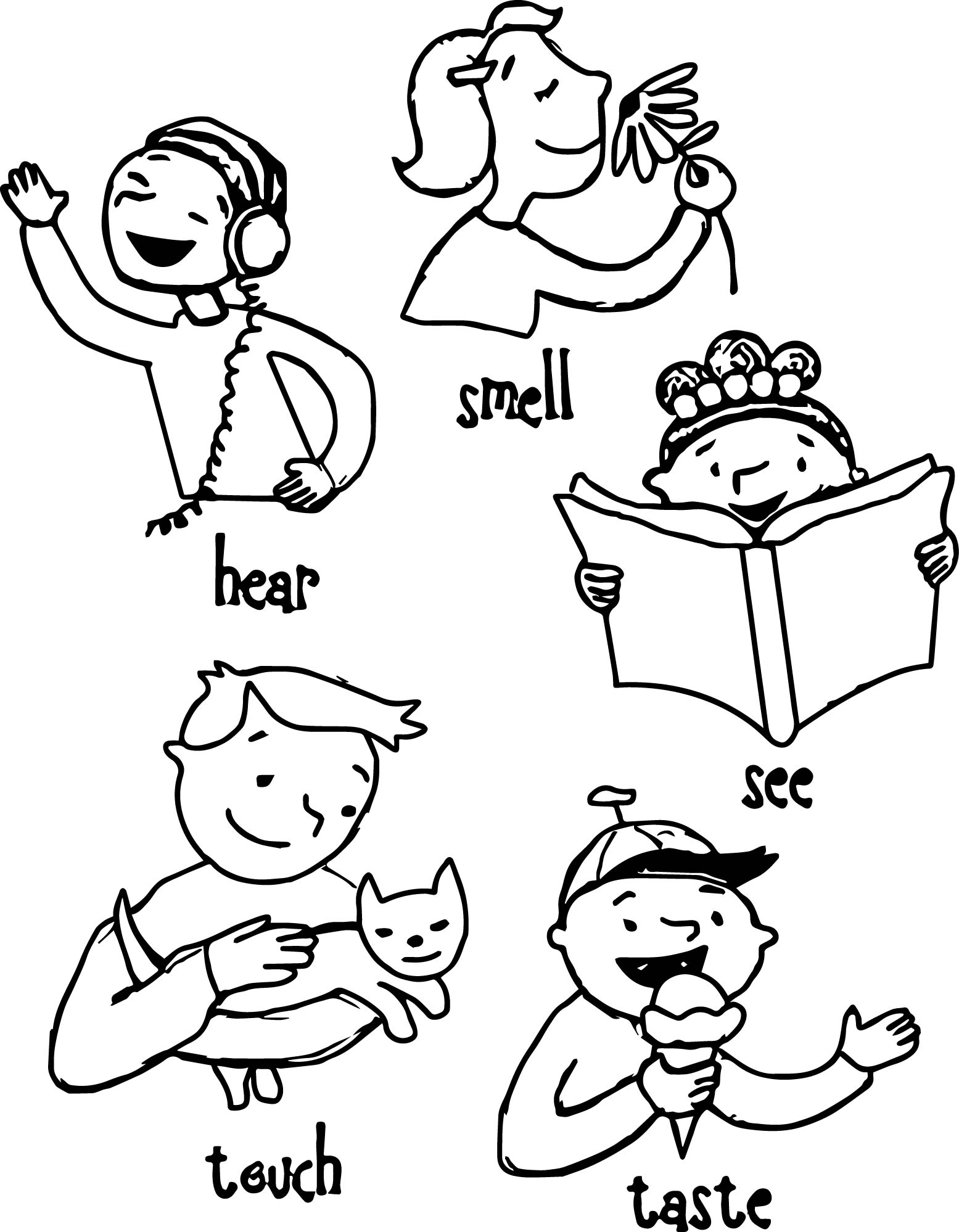 Five coloring pages mssrainbows. 5 senses clipart black and white