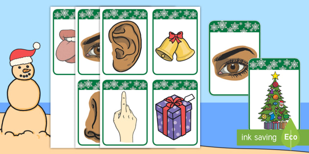 Five christmas matching cards. 5 senses clipart communication disorder