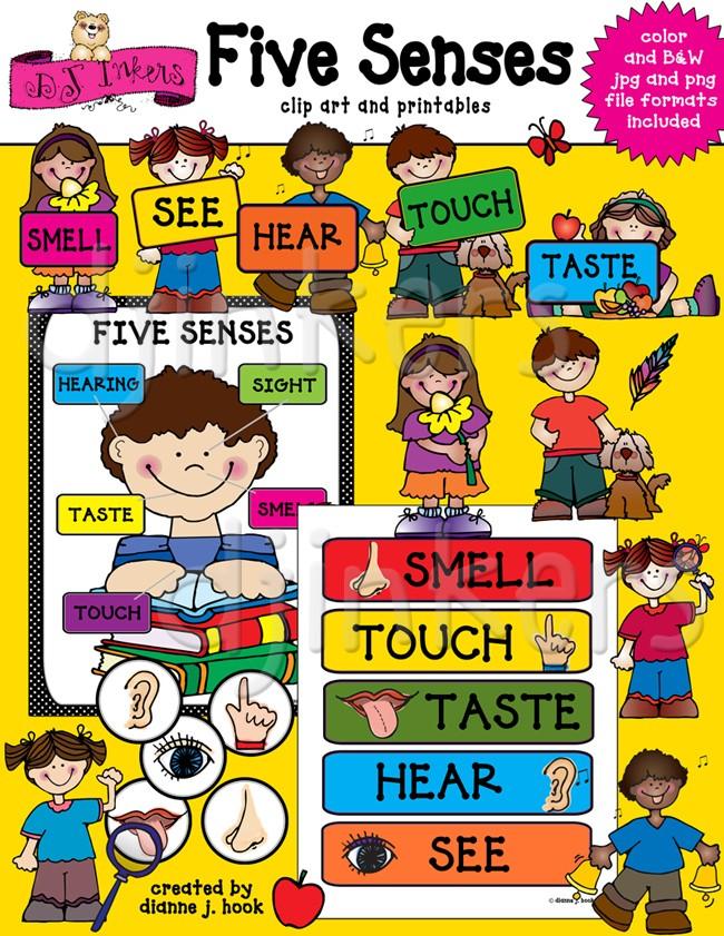 5 senses clipart cute. Clip art for teaching