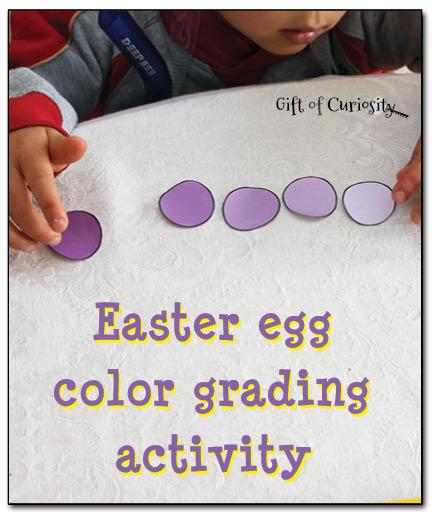 Egg color grading activity. 5 senses clipart easter