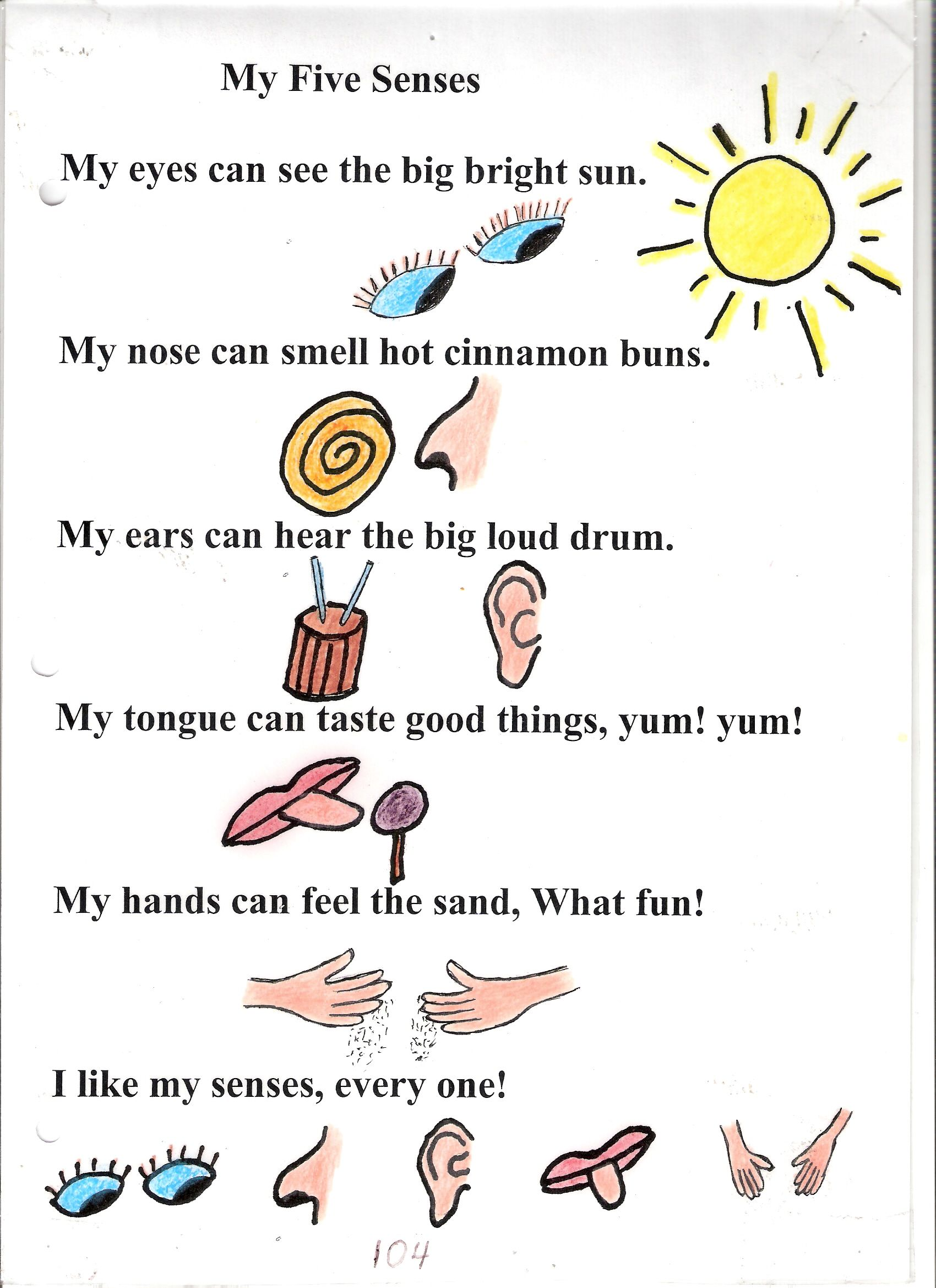 5 senses clipart imagery. Poem no my five