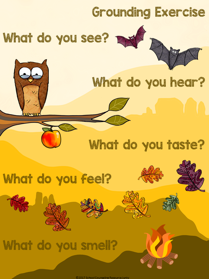 Self care autumn fall. 5 senses clipart mindful