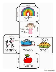 Five dice and recording. 5 senses clipart mindful