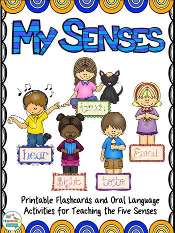 5 senses clipart teaching. Five language activities pack